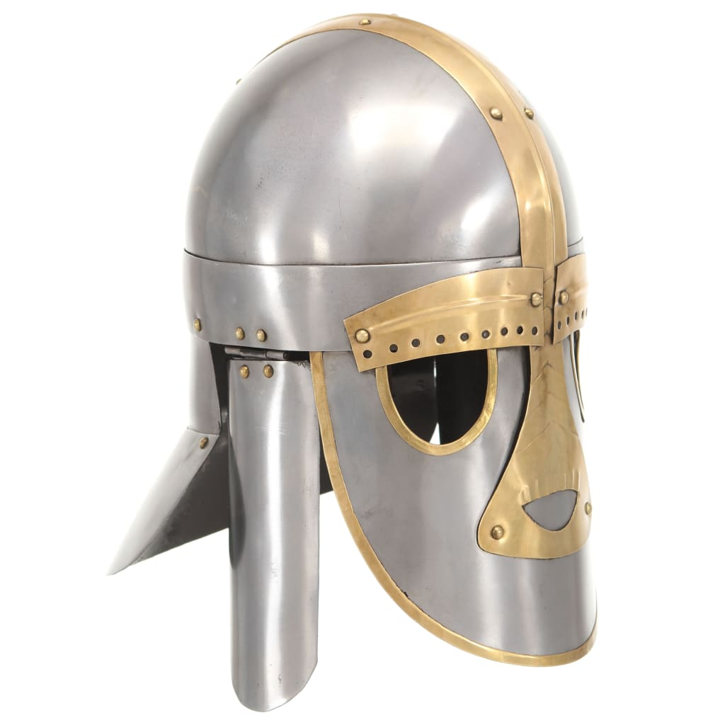 vidaXL Coif medieval aspect antic, jocuri pe roluri, argintiu, oțel poza 2021 vidaXL