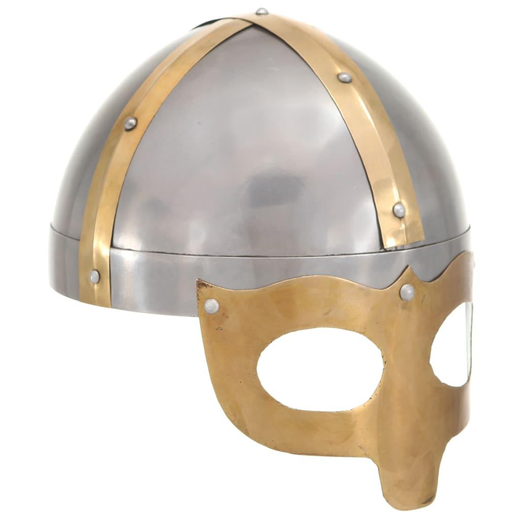 vidaXL Coif de viking, aspect antic, jocuri pe roluri, argintiu, oțel poza 2021 vidaXL