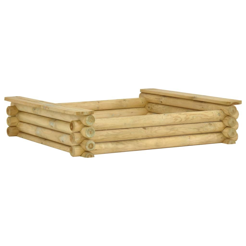 vidaXL Groapă de nisip, 120 x 120 x 27 cm, lemn de pin tratat imagine vidaxl.ro