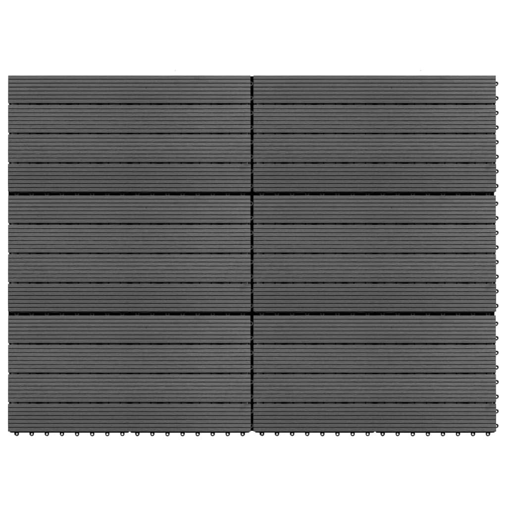 vidaXL WPC dlaždice 60 x 30 cm 6 ks 1 m² šedé