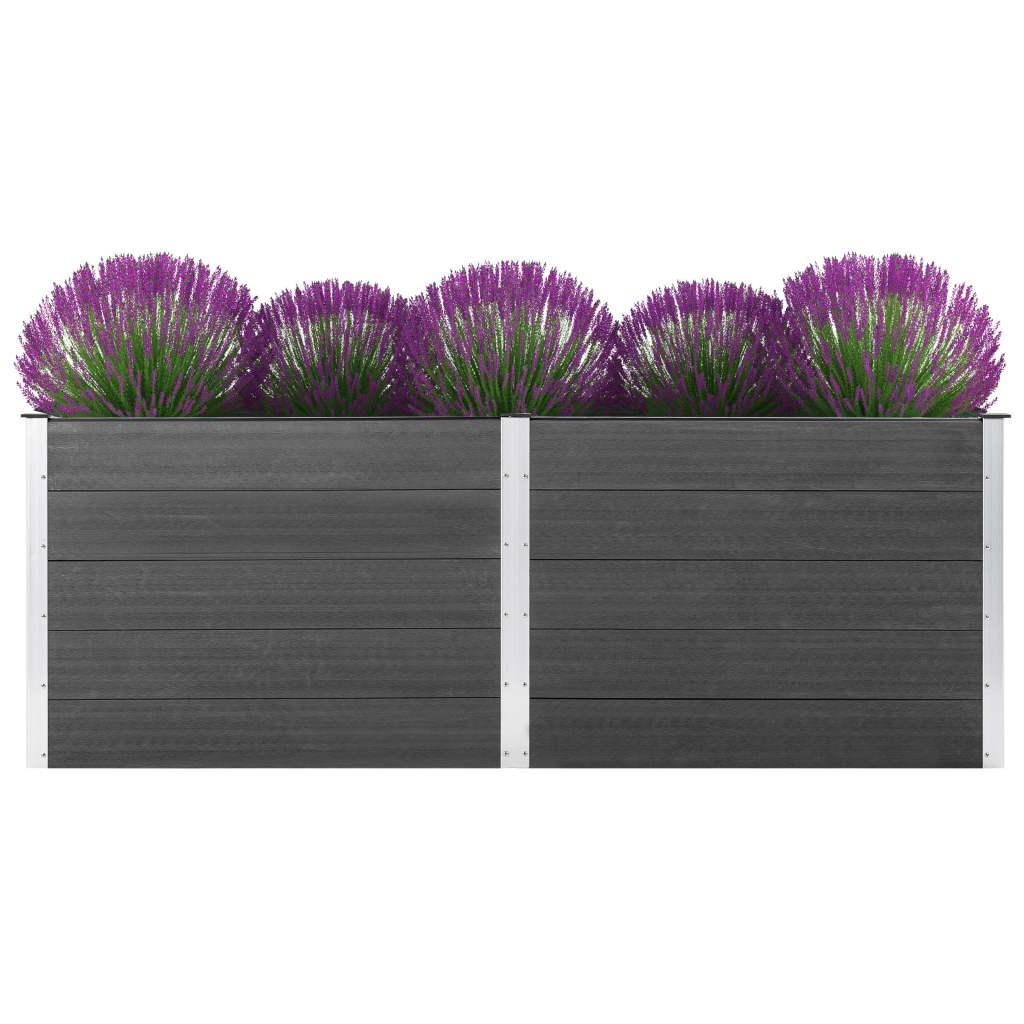 vidaXL Strat înălțat de grădină, gri, 250 x 50 x 91 cm, WPC imagine vidaxl.ro