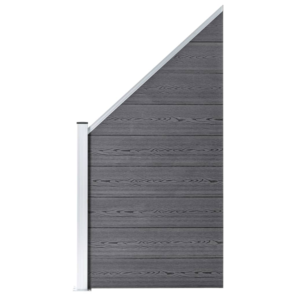 vidaXL Gjerdepanel WPC 90x(100-180) cm grå