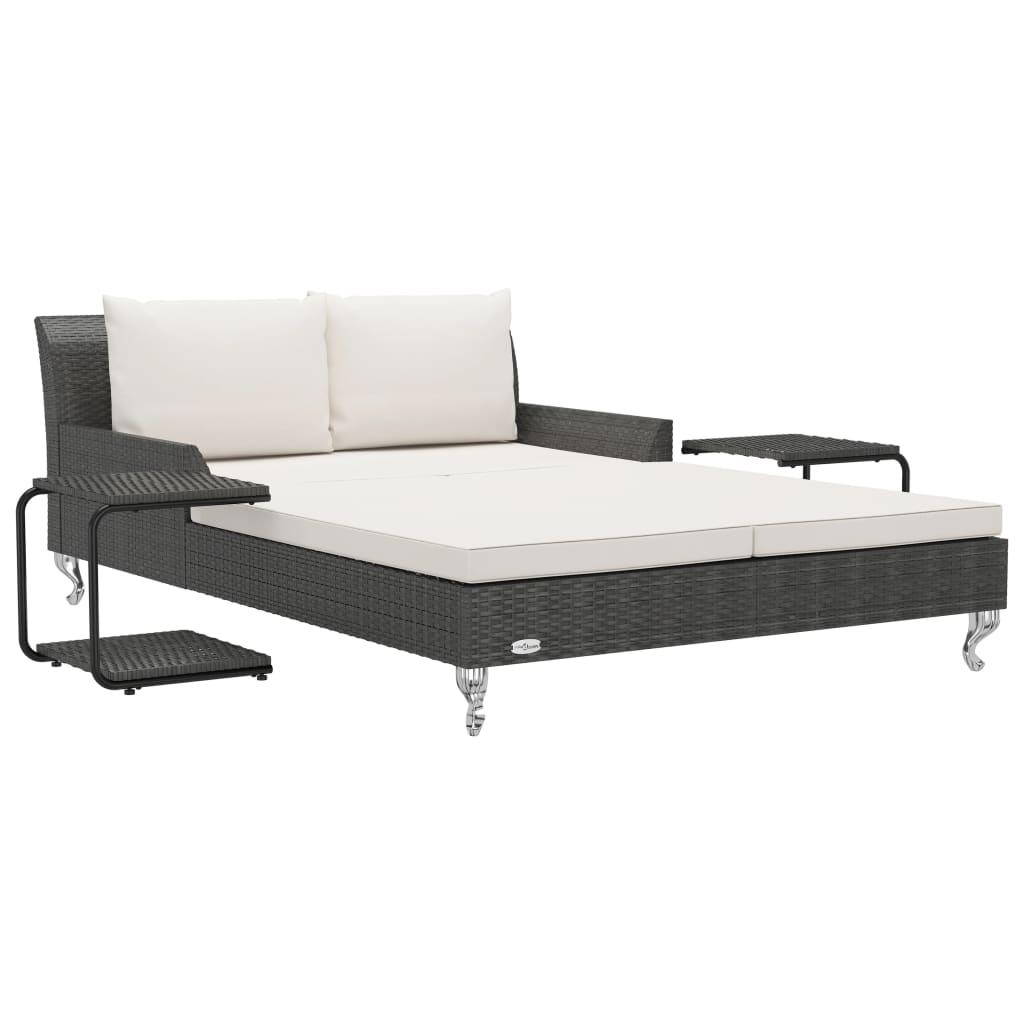 vidaXL Ξαπλώστρα-Κρεβάτι 2 Ατόμων Μαύρη Συνθετικό Ρατάν με Μαξιλάρια