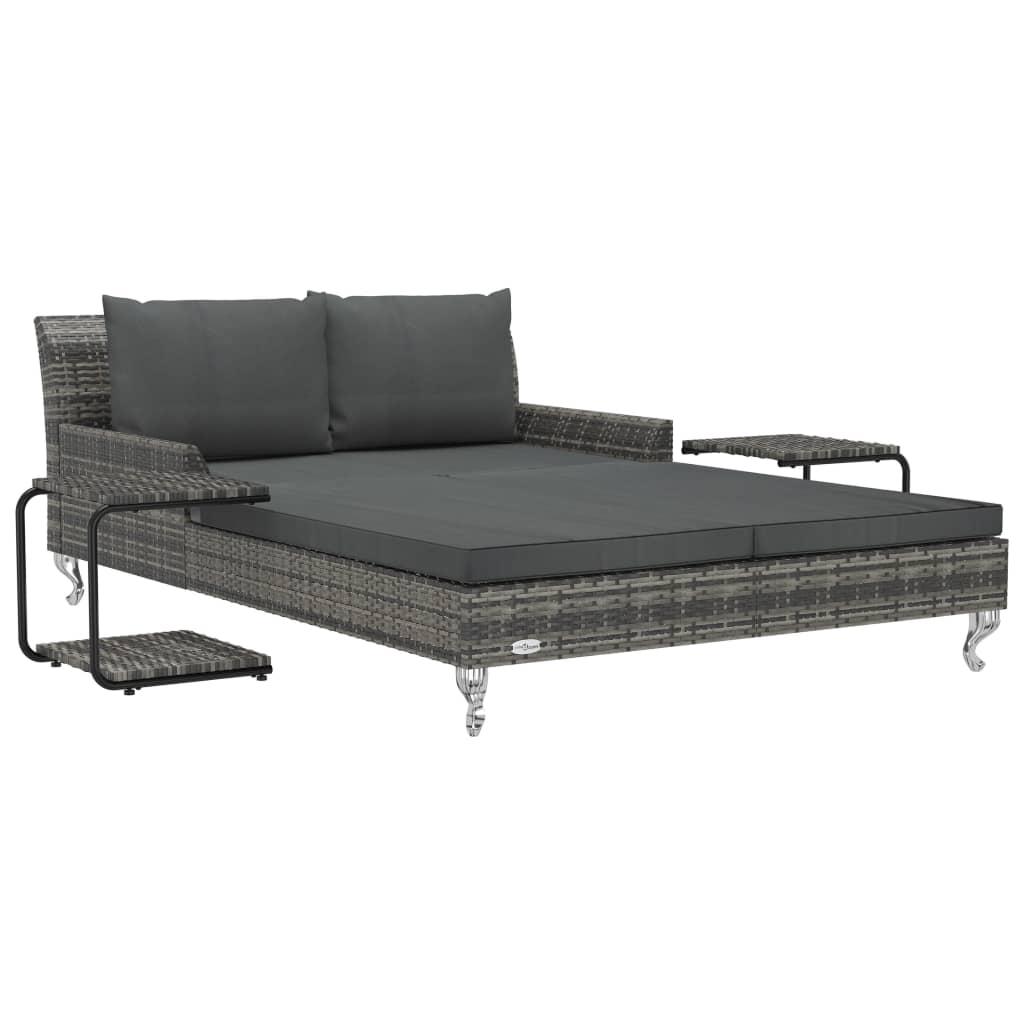 vidaXL Ξαπλώστρα-Κρεβάτι 2 Ατόμων Γκρι Συνθετικό Ρατάν με Μαξιλάρια