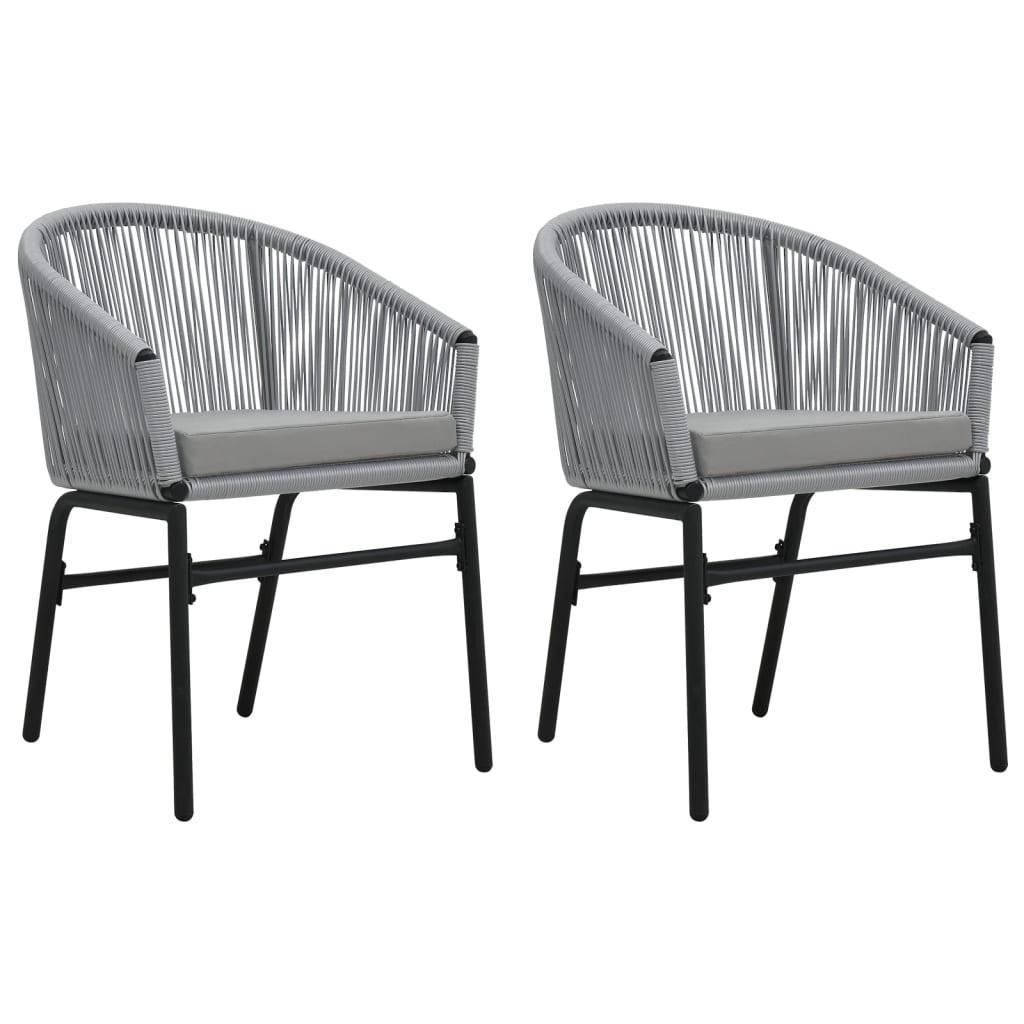 vidaXL Καρέκλες Κήπου 2 τεμ. Ανθρακί από Ρατάν PVC