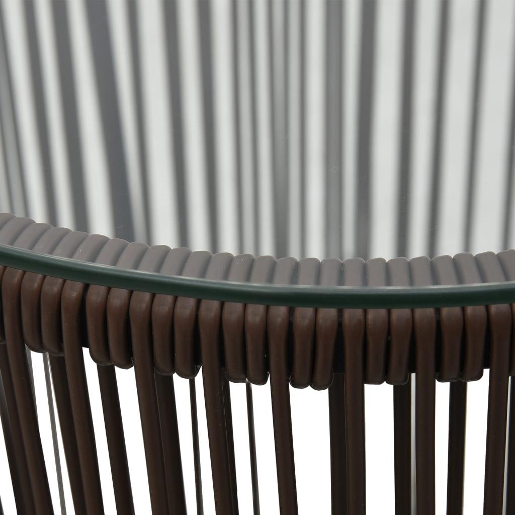 vidaXL 3-delige Bistroset met kussens PVC-rattan bruin