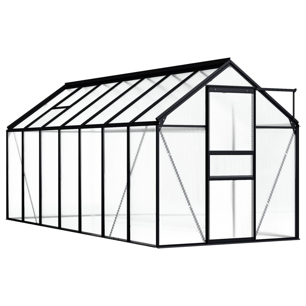vidaXL Seră, antracit, 8,17 m², aluminiu vidaxl.ro