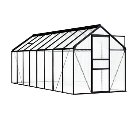 vidaXL Serre Anthracite Aluminium 9,31 m²