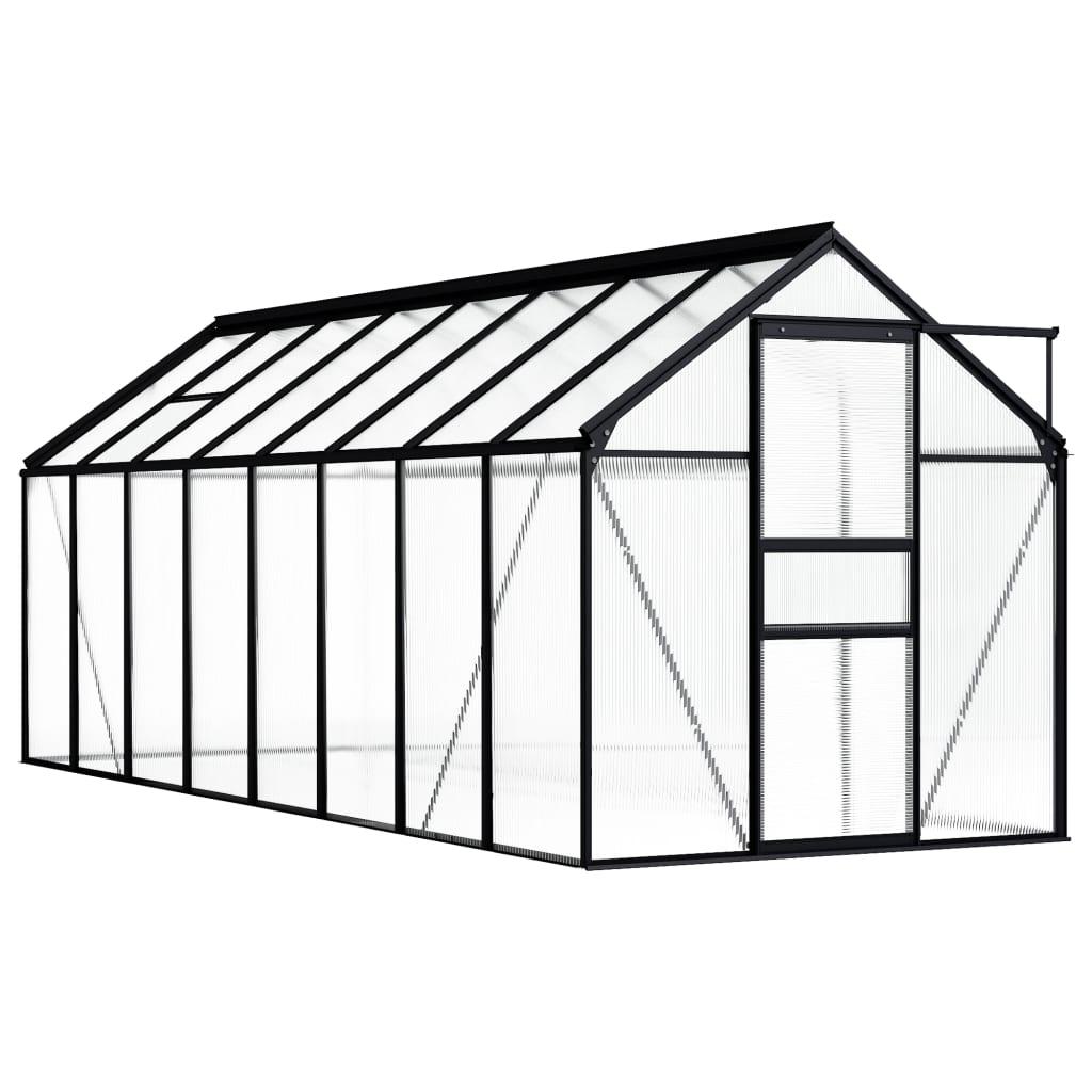 Skleník antracitový hliníkový 9,31 m²