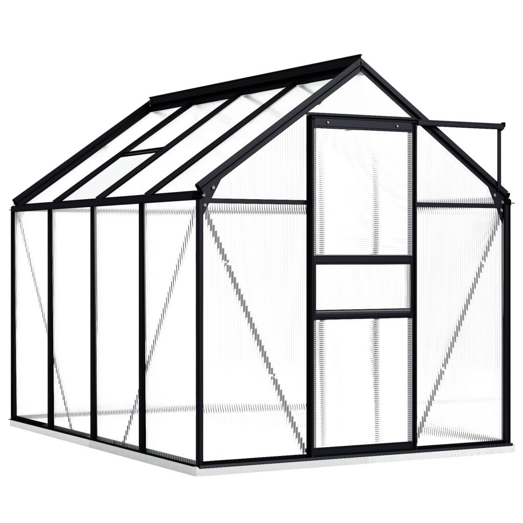 Skleník s podkladovým rámem antracitový hliník 4,75 m²