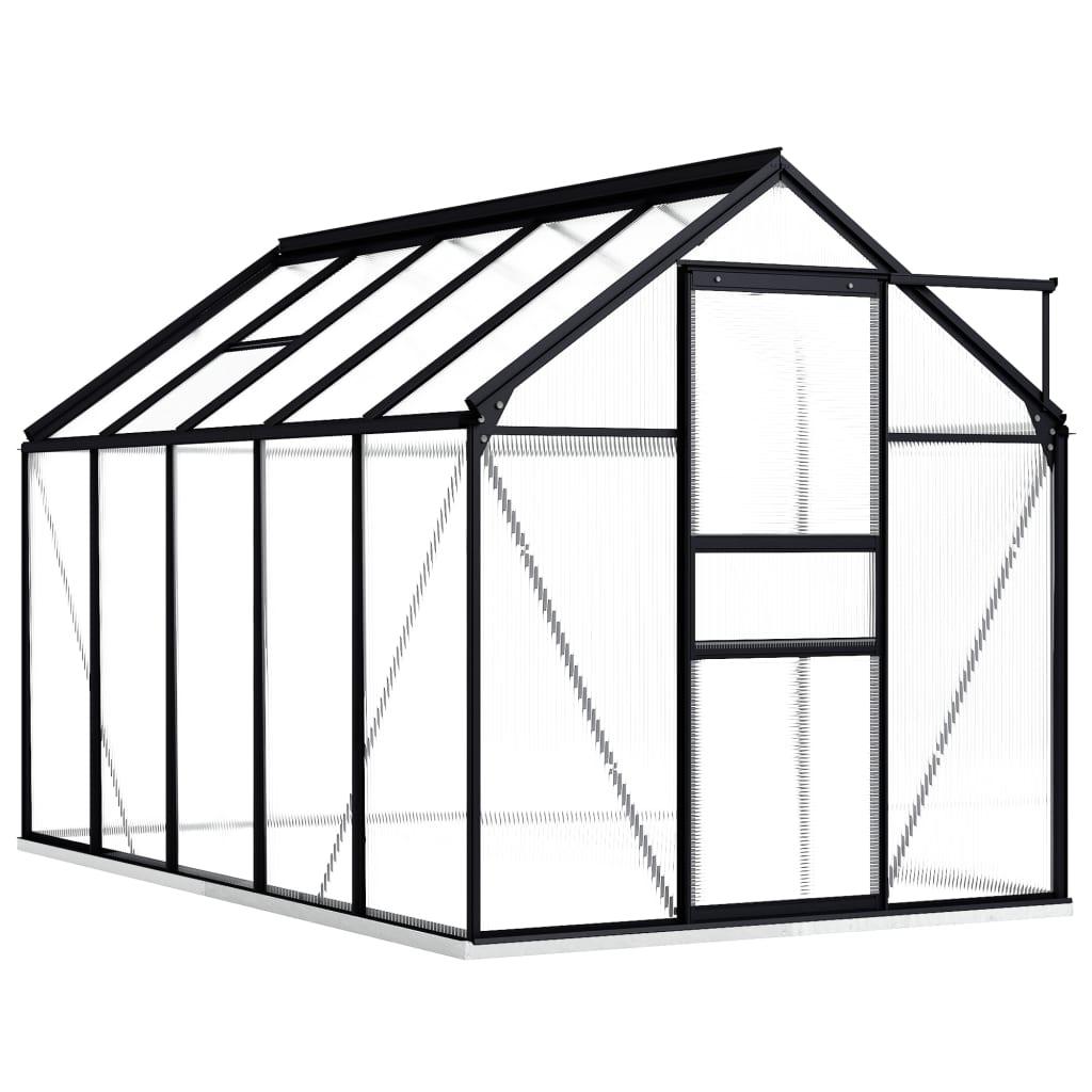 vidaXL Seră cu un cadru de bază, antracit, 5,89 m², aluminiu vidaxl.ro