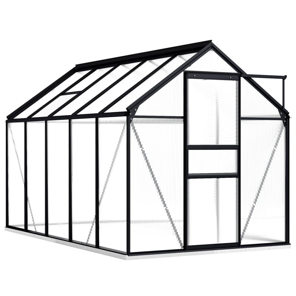 Skleník s podkladovým rámem antracitový hliník 5,89 m²