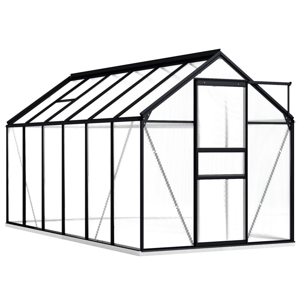 vidaXL Seră cu cadru de bază, antracit, 7,03 m², aluminiu vidaxl.ro