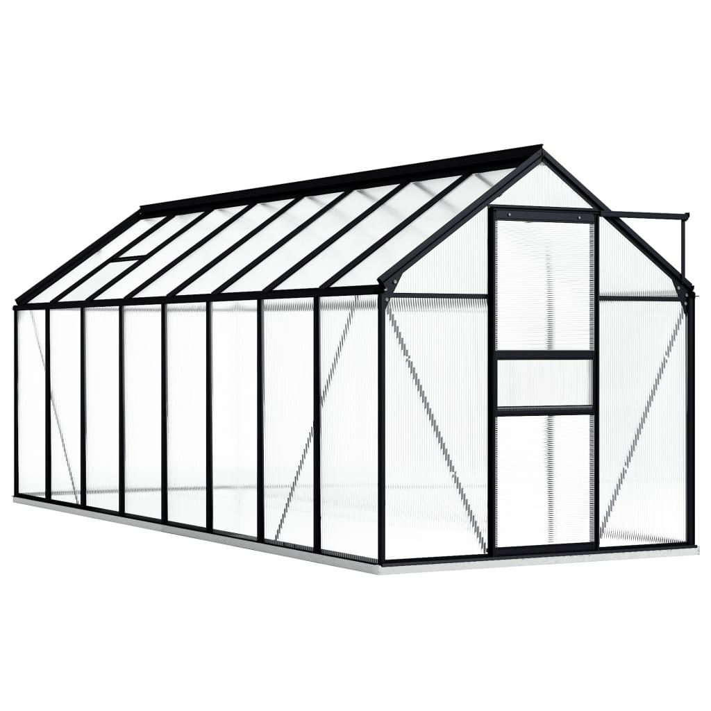 vidaXL Seră cu un cadru de bază, antracit, 9,31 m², aluminiu vidaxl.ro