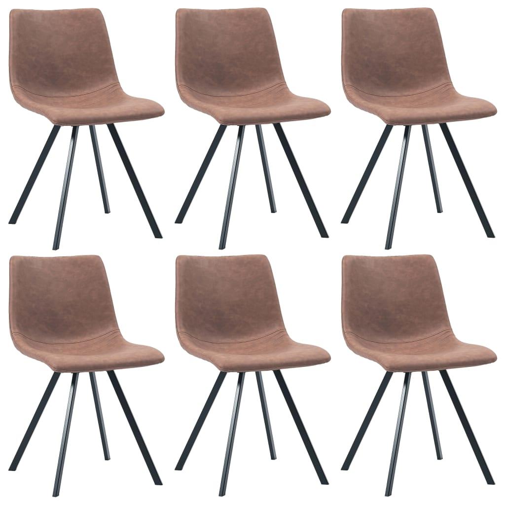 vidaXL Καρέκλες Τραπεζαρίας 6 τεμ. Μεσαίο Καφέ από Συνθετικό Δέρμα