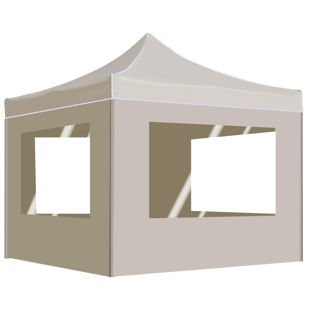 vidaXL Partytent inklapbaar met wanden 2x2 m aluminium crème