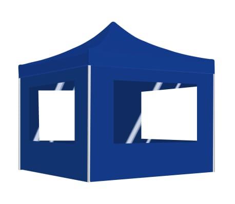vidaXL Partytent inklapbaar met wanden 2x2 m aluminium blauw