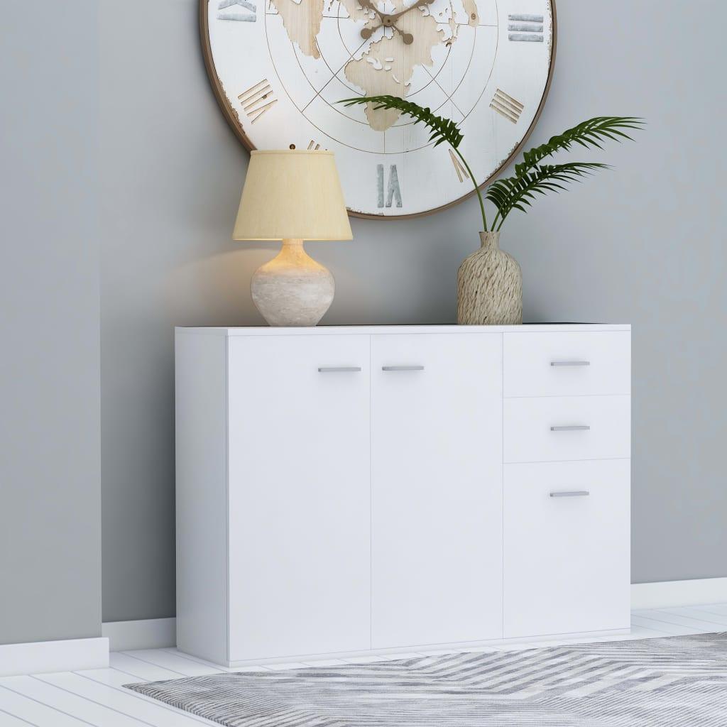 Příborník bílý 105 x 30 x 75 cm dřevotříska