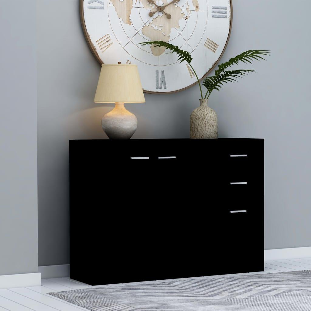 Příborník černý 105 x 30 x 75 cm dřevotříska
