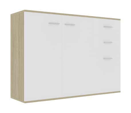 "vidaXL Sideboard White and Sonoma Oak 41.3""x11.8""x29.5""Chipboard"