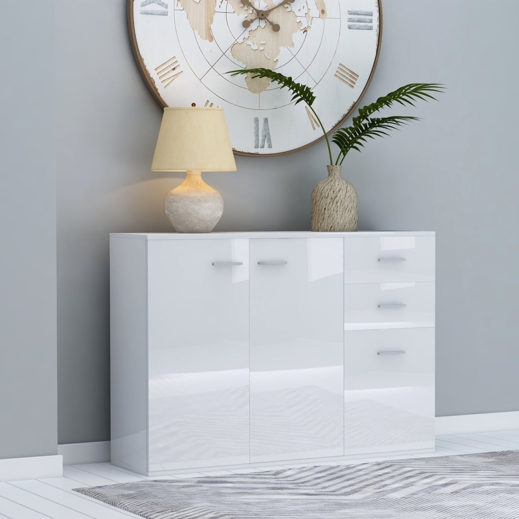 vidaXL Servantă, alb extralucios, 105 x 30 x 75 cm, PAL imagine vidaxl.ro