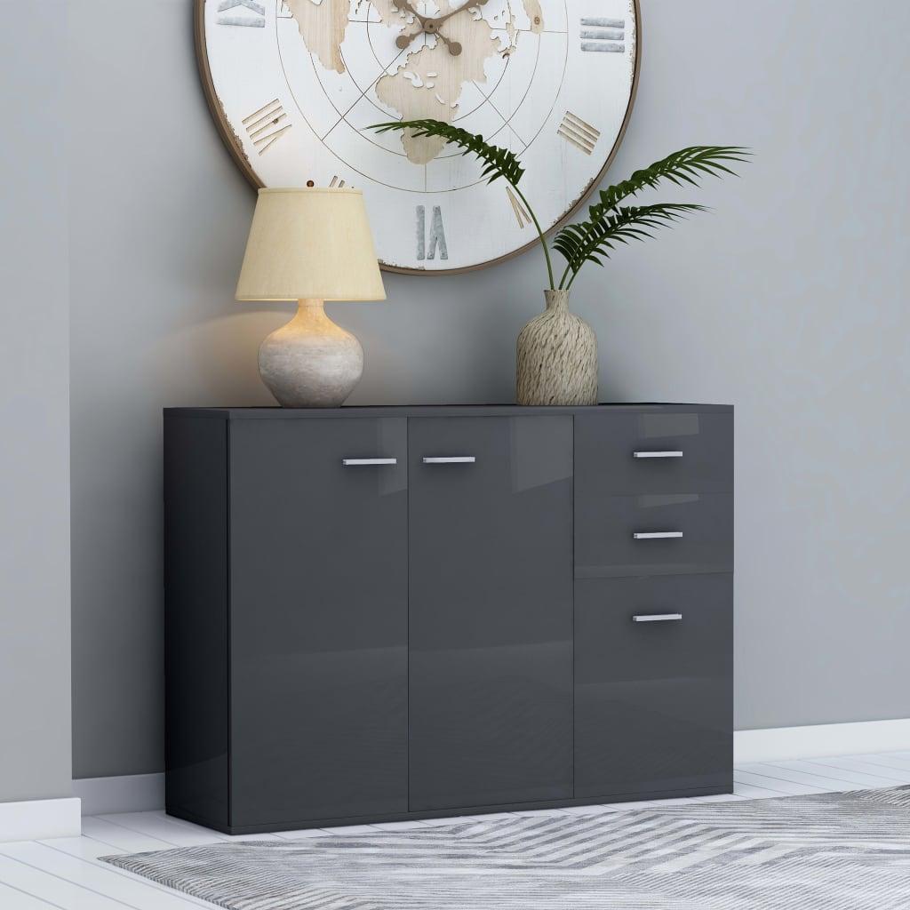 Příborník šedý s vysokým leskem 105 x 30 x 75 cm dřevotříska
