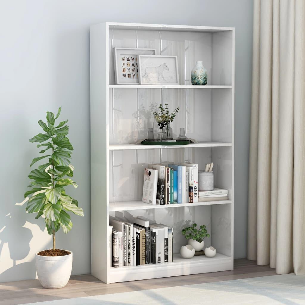 4-korruseline raamaturiiul valge 80x24x142 cm pui..