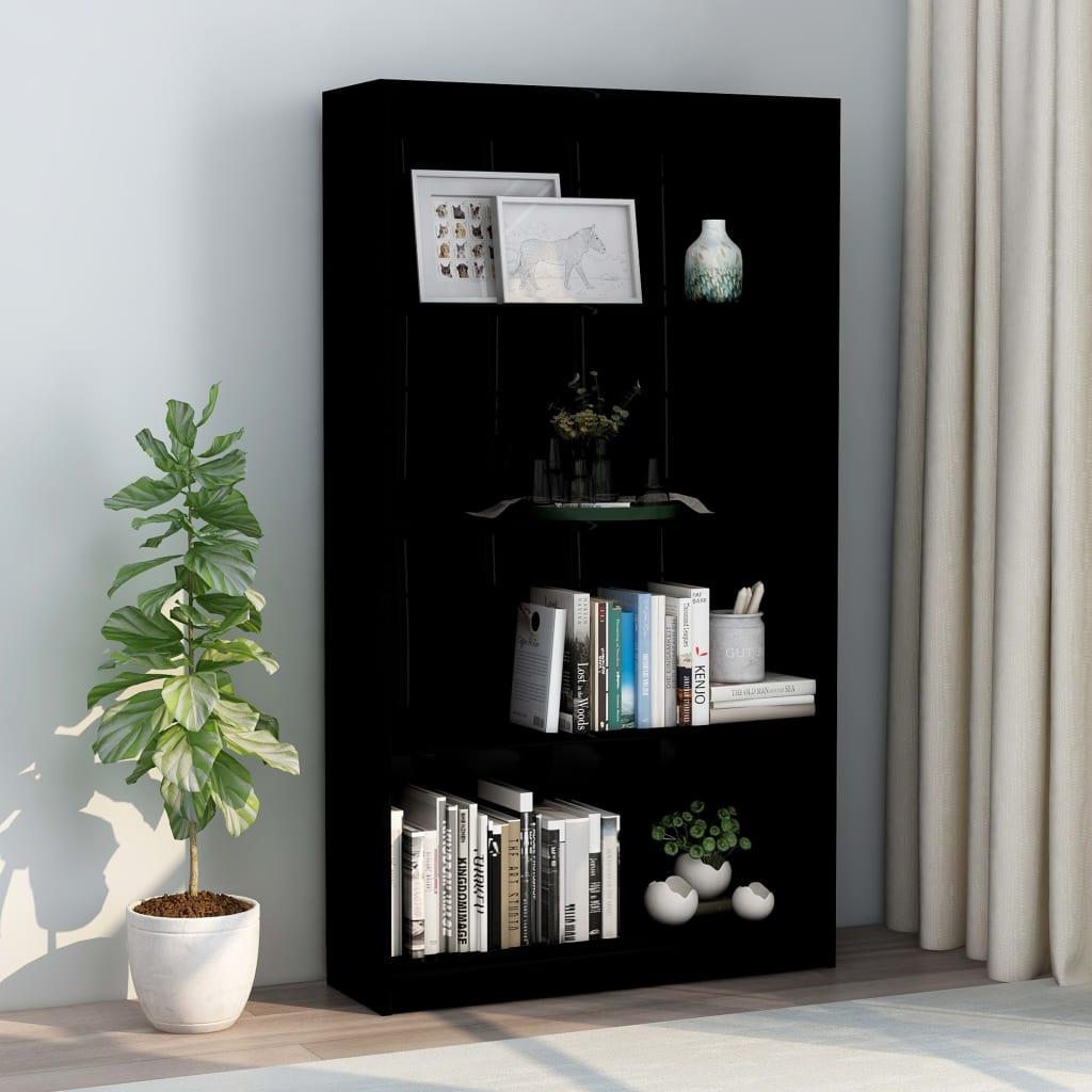 vidaXL Bibliotecă cu 4 rafturi, negru extralucios, 80x24x142 cm, PAL vidaxl.ro
