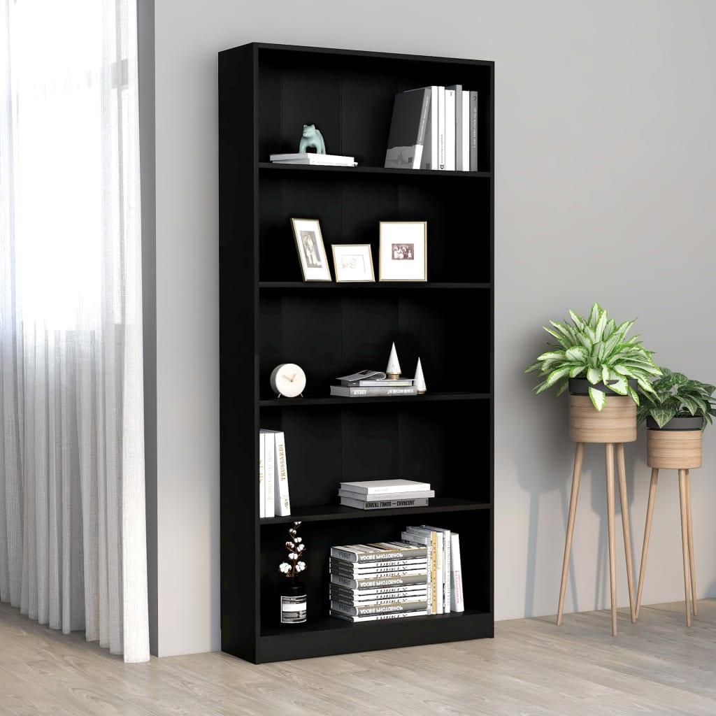 5-korruseline raamaturiiul must 80x24x175 cm, pui..