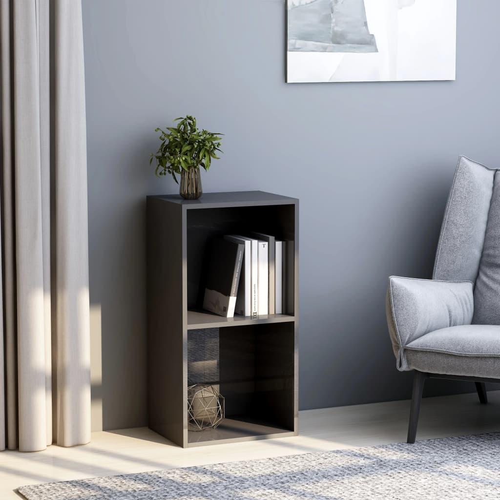 Knihovna 2 police šedá vysoký lesk 40x30x76,5 cm dřevotříska