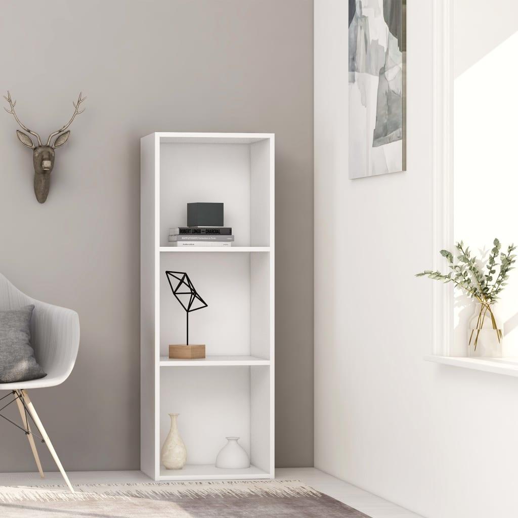 vidaXL 3patrová knihovna bílá 40 x 30 x 114 cm dřevotříska