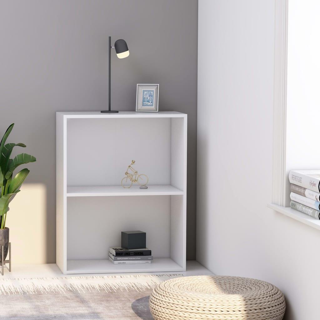 vidaXL Knihovna se 2 policemi bílá 60 x 30 x 76,5 cm dřevotříska