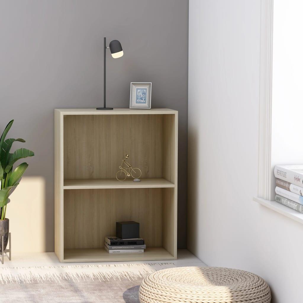 Knihovna se 2 policemi dub sonoma 60 x 30 x 76,5 cm dřevotříska