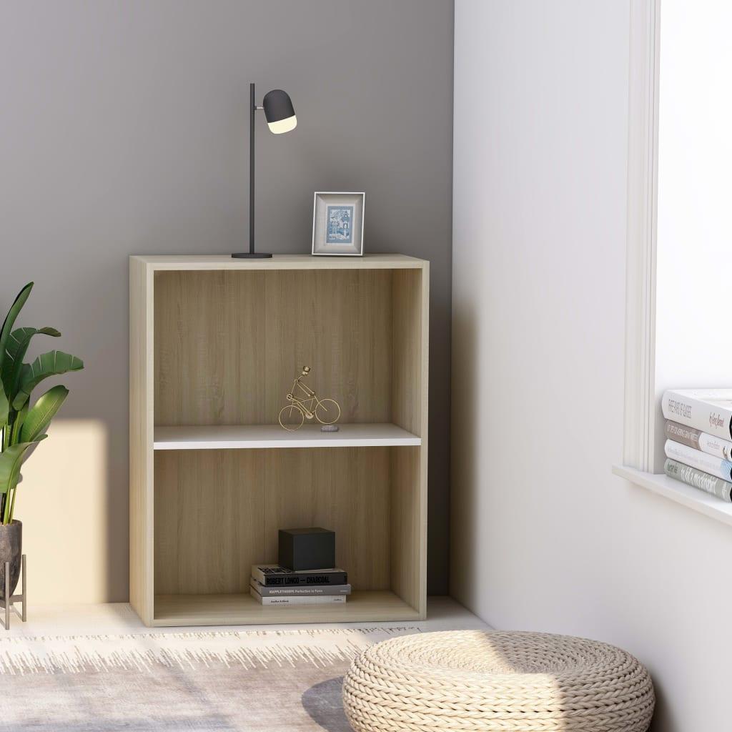 2patrová knihovna bílá sonoma dub 60 x 30 x 76,5 cm dřevotříska