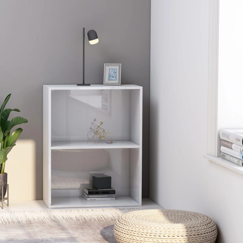 Knihovna 2 police bílá vysoký lesk 60x30x76,5 cm dřevotříska