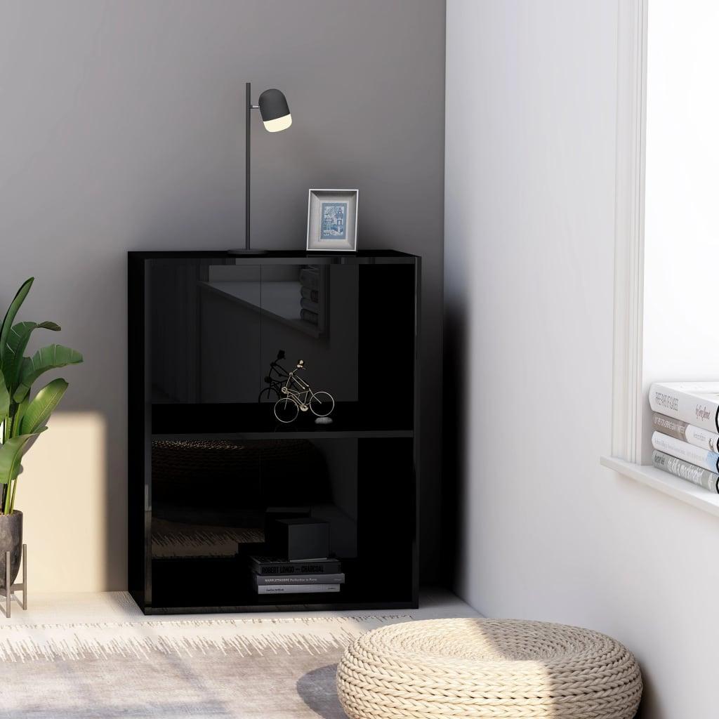 vidaXL 2patrová knihovna černá vysoký lesk 60x30x76,5 cm dřevotříska
