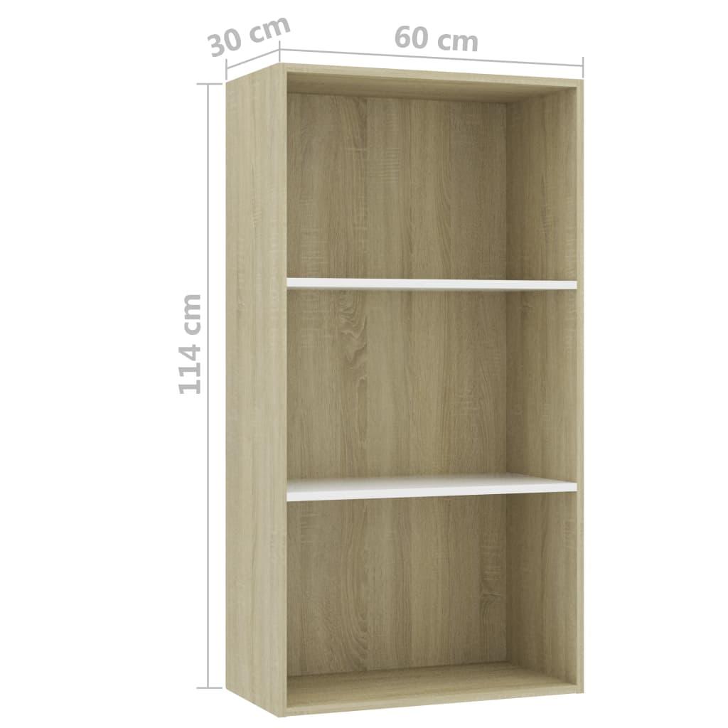 3-korruseline raamaturiiul valge, tamm 60x30x114 puitlaastplaat