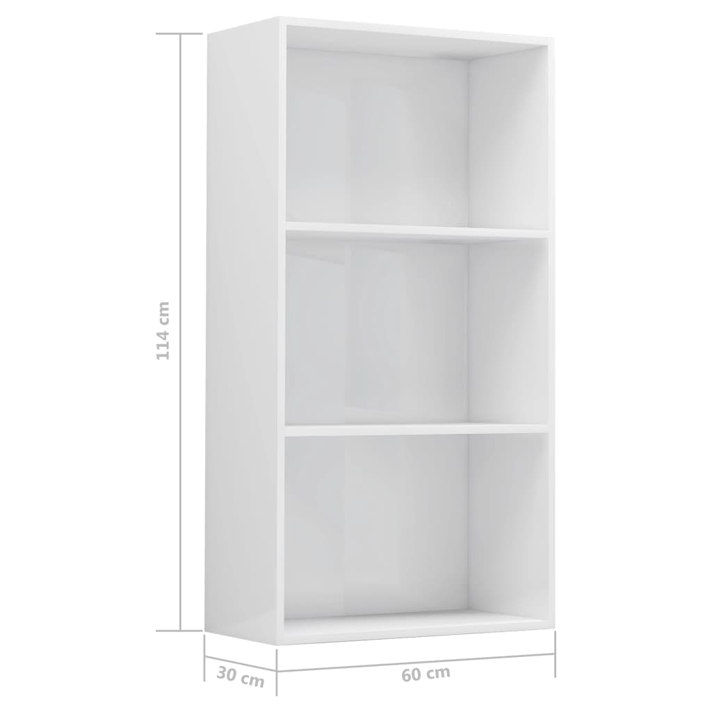 3-korruseline raamaturiiul valge 60x30x114 cm puitlaastplaat