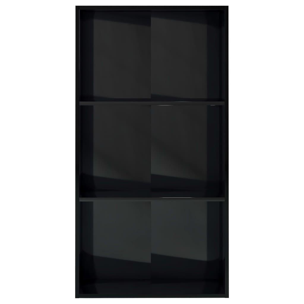 3-korruseline raamaturiiul must 60x30x114 cm puitlaastplaat