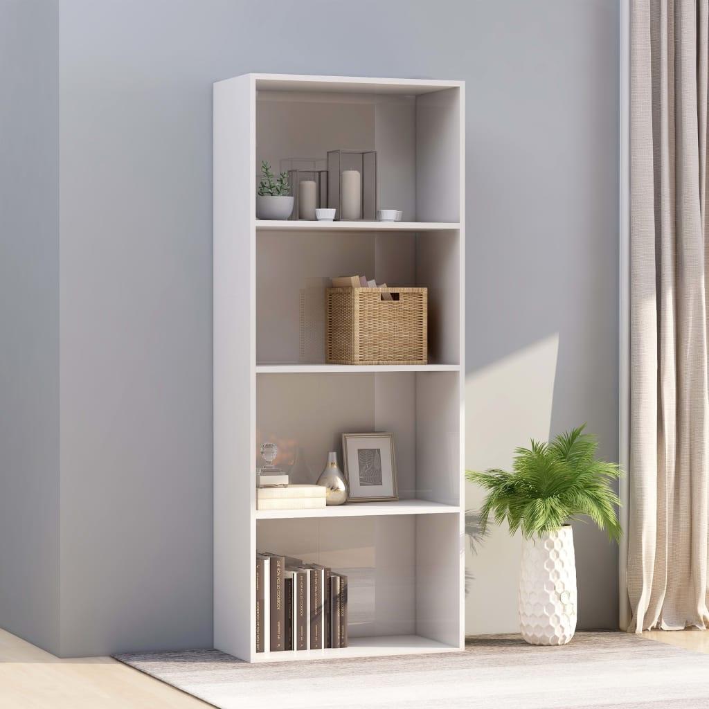 4-korruseline raamaturiiul valge 60x30x151,5 cm p..