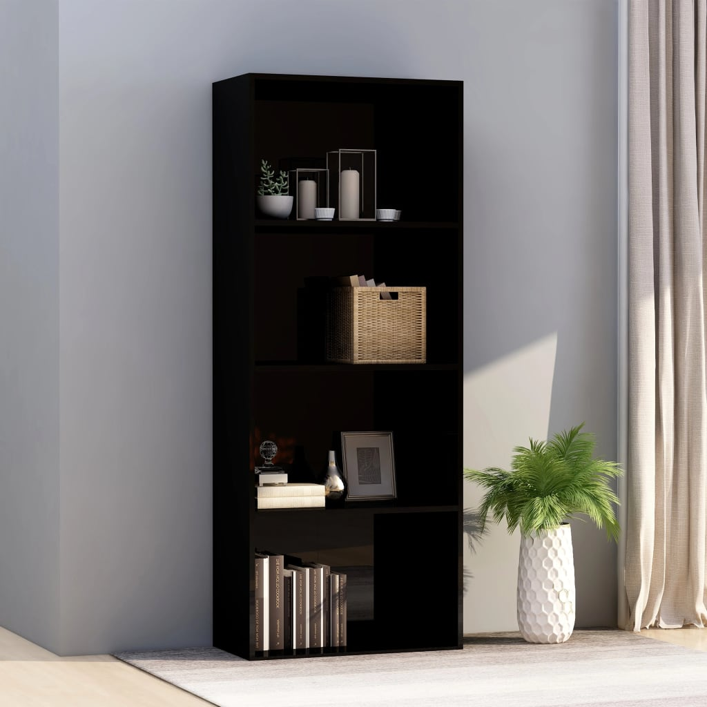 4-korruseline raamaturiiul must 60x30x151,5 cm pu..