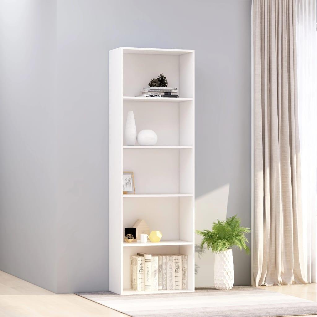 5-korruseline raamaturiiul, valge 60x30x189 cm, p..