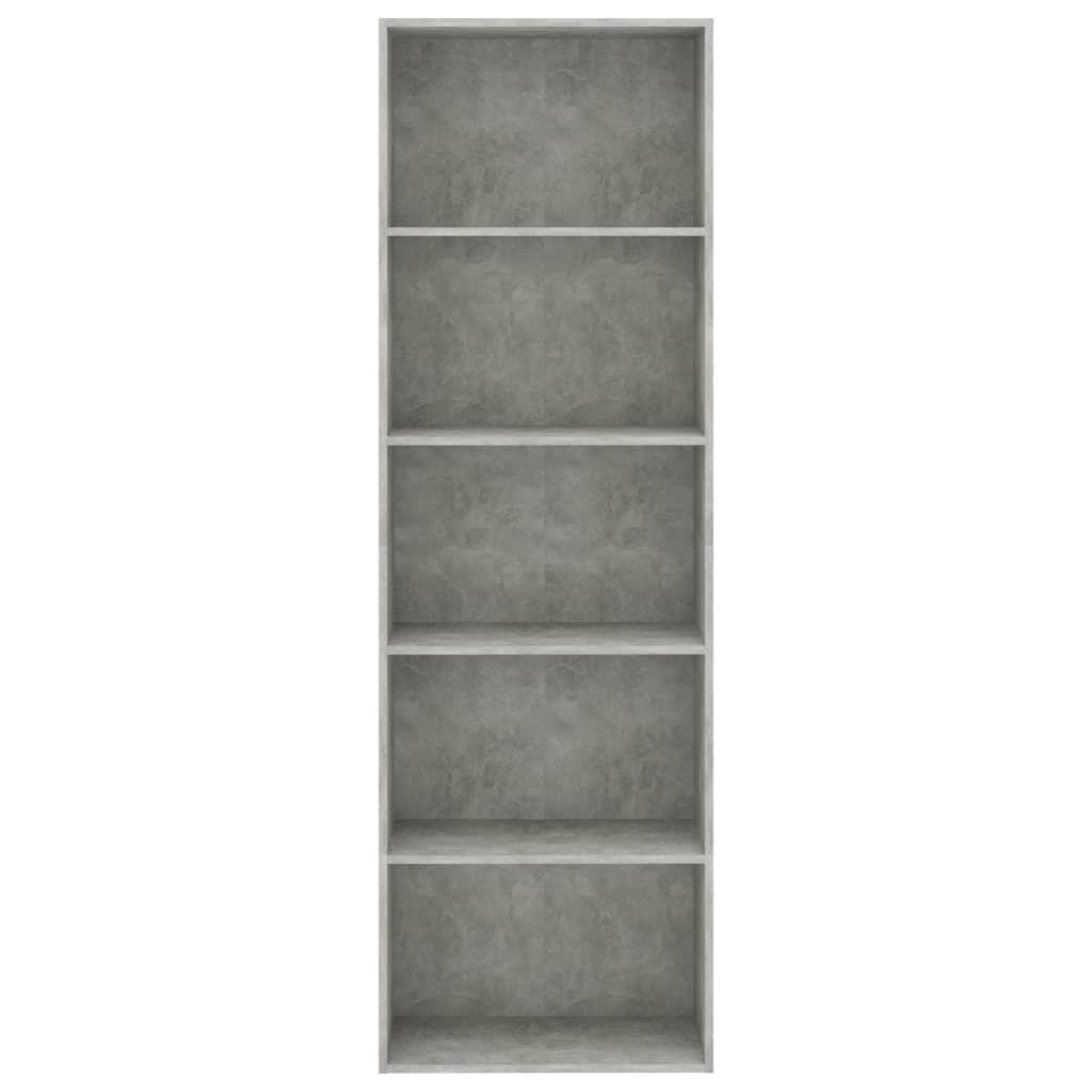 vidaXL Boekenkast met 5 schappen 60x30x189 cm spaanplaat betongrijs