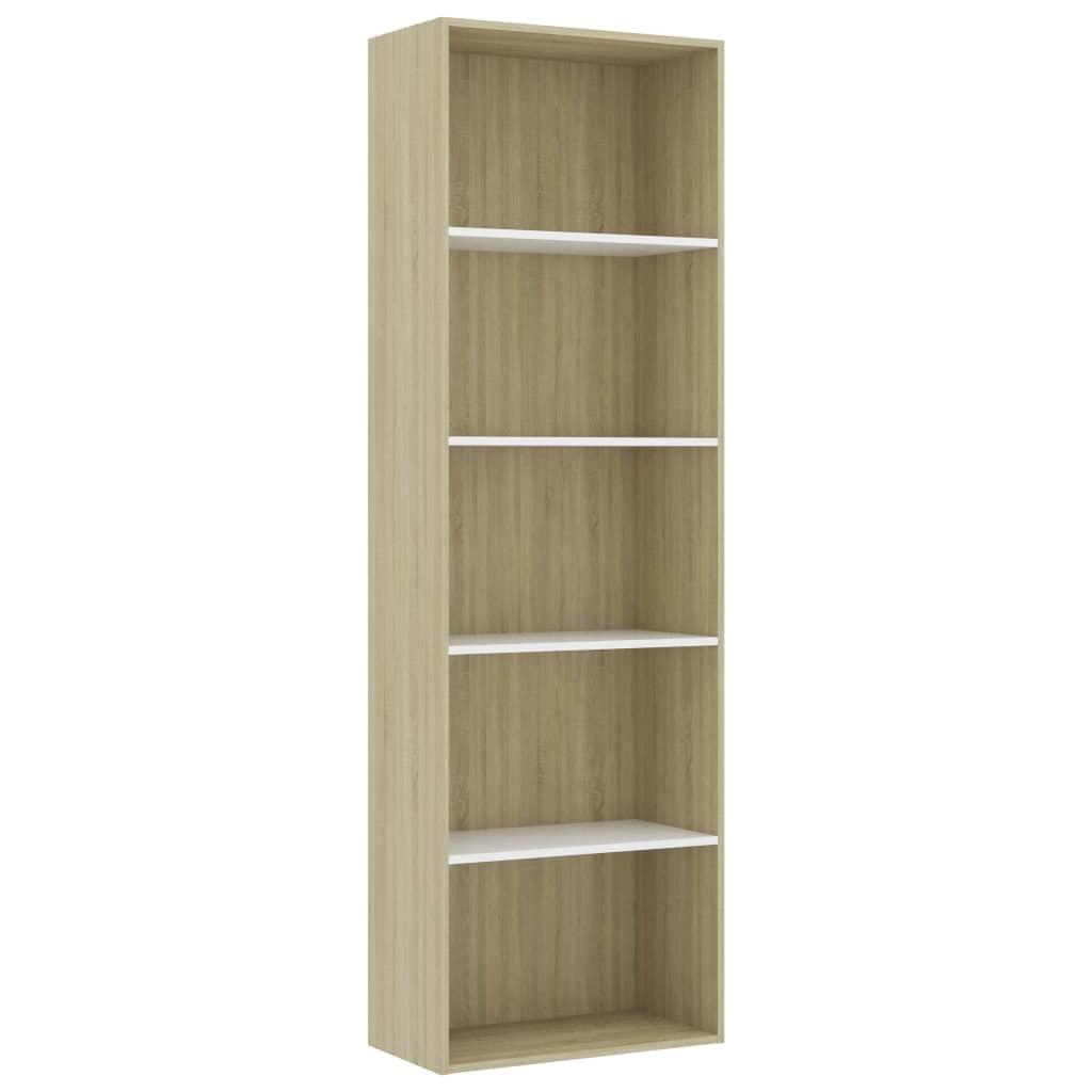 vidaXL Βιβλιοθήκη με 5 Ράφια Λευκό/Sonoma 60x30x189 εκ. Μοριοσανίδα
