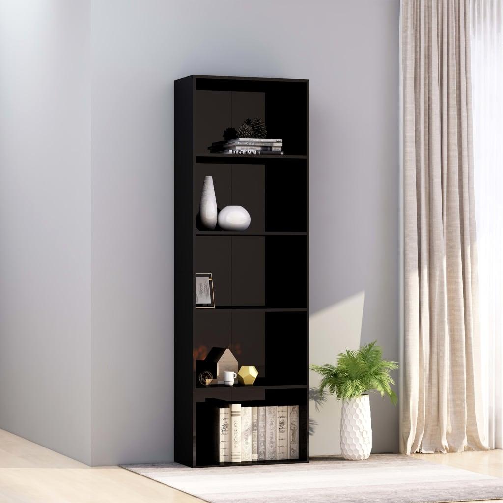 5-korruseline raamaturiiul, must, 60x30x189 cm, p..