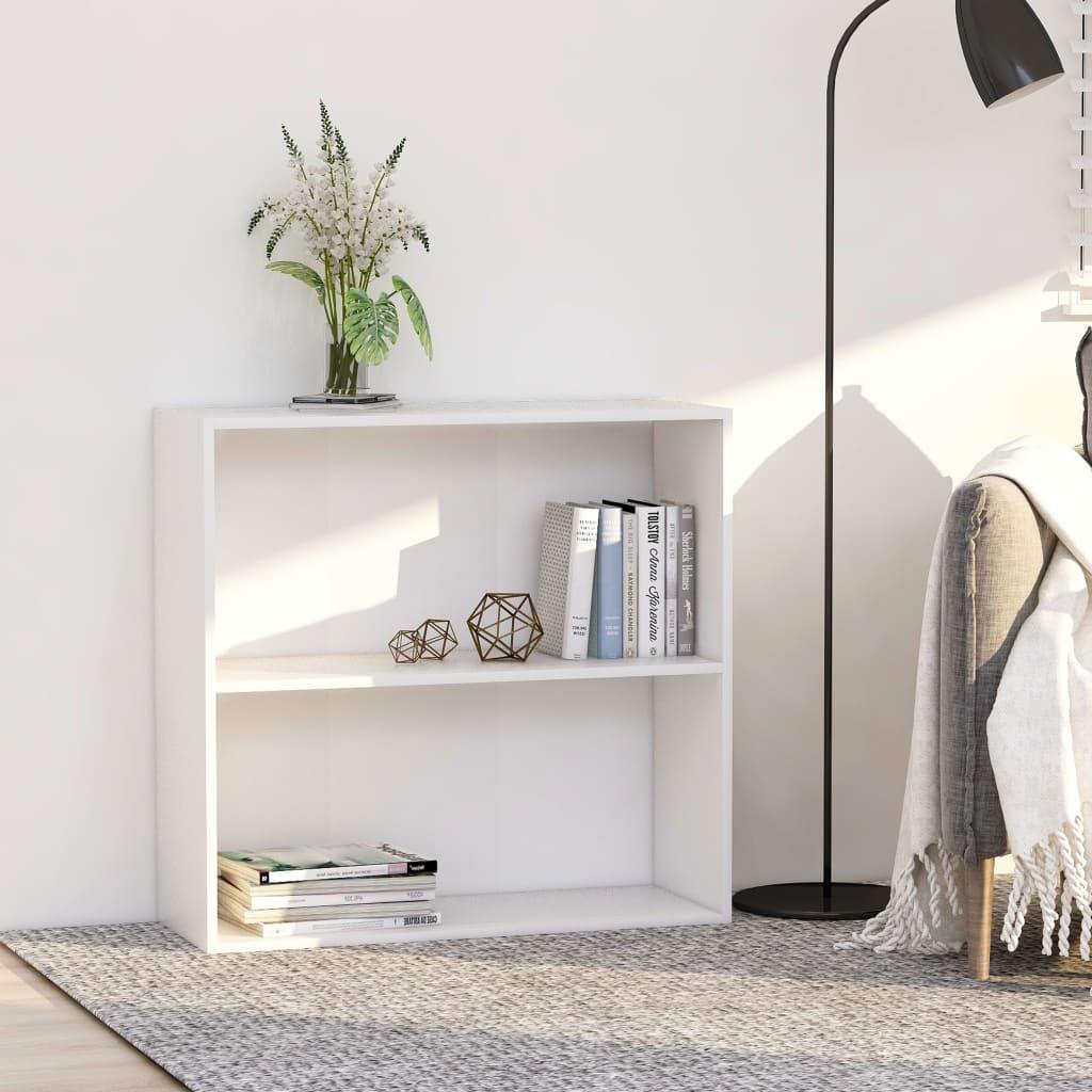 vidaXL 2patrová knihovna bílá 80 x 30 x 76,5 cm dřevotříska
