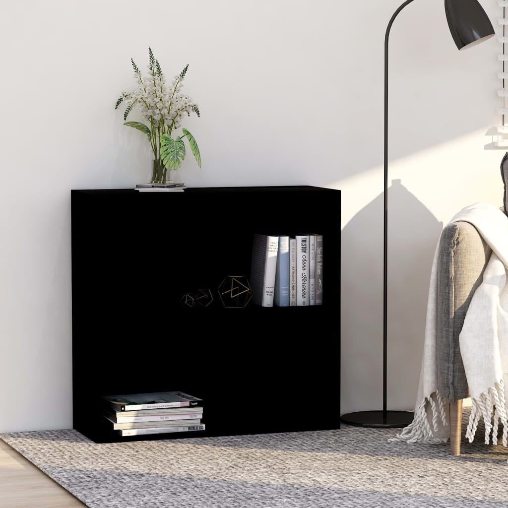 vidaXL 2patrová knihovna černá 80 x 30 x 76,5 cm dřevotříska