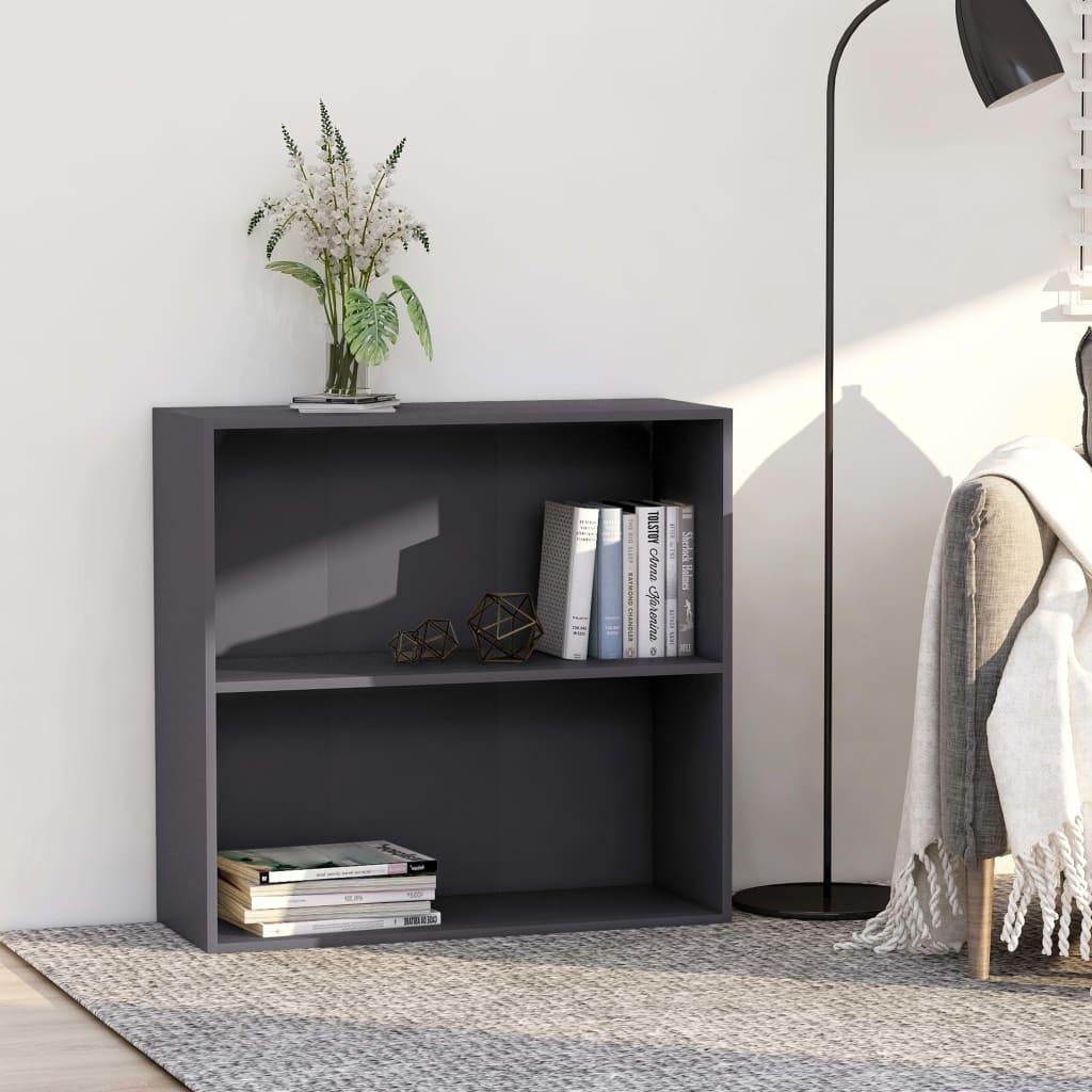 vidaXL 2patrová knihovna šedá 80 x 30 x 76,5 cm dřevotříska