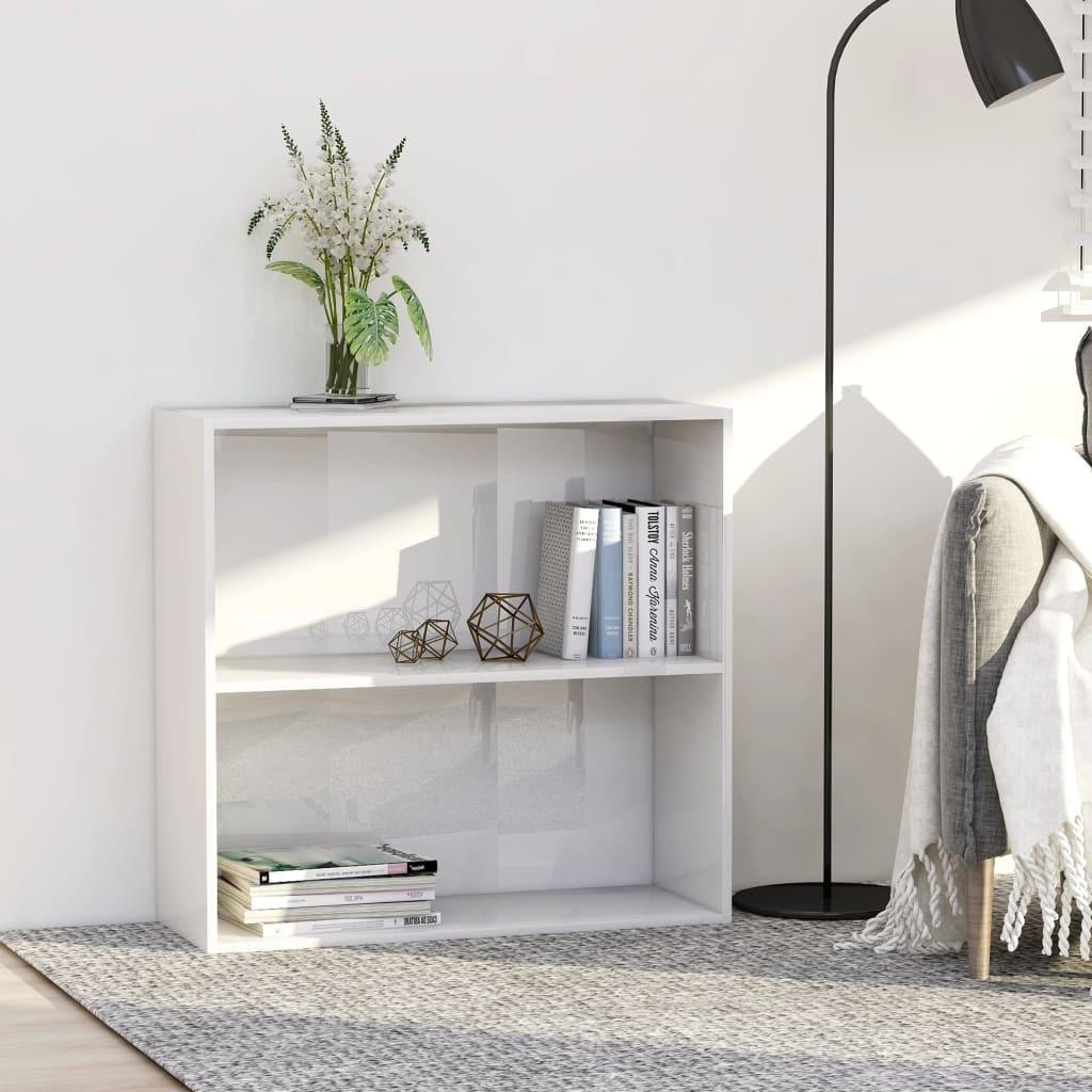 vidaXL 2patrová knihovna bílá vysoký lesk 80x30x76,5 cm dřevotříska