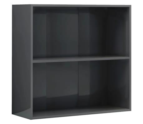 vidaXL Boekenkast 2 schappen 80x30x76,5 cm spaanplaat hoogglans grijs
